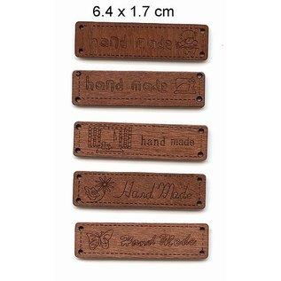 Embellishments / Verzierungen 5 verschillende Durchholzen labels met de tekst - Handmade -, afmeting 6.4 x 1.7 cm