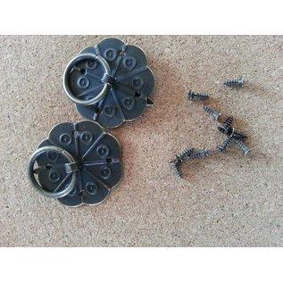 Embellishments / Verzierungen 2 Scrapbook handvat in metaal, gemonteerd met schroeven met Brad