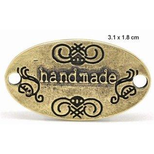 """Embellishments / Verzierungen """"Handmade"""" 4 labels in metaal"""