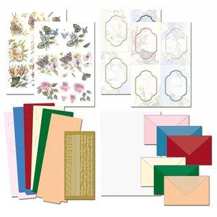 BASTELSETS / CRAFT KITS Complete Bastelset, NoteCards Staf Wesenbeek, Set 1 flowers with butterflies