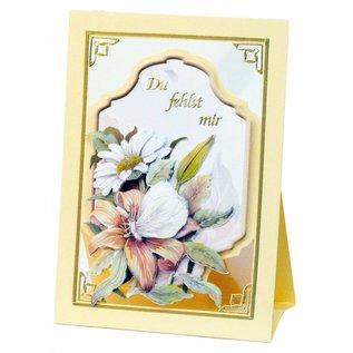 BASTELSETS / CRAFT KITS Komplettes Bastelset, Aufstellkarten Staf Wesenbeek, Set 1 Blumen mit Schmetterlingen