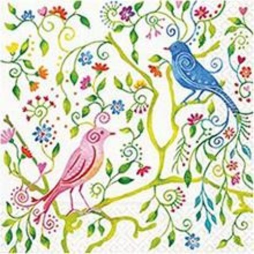 DECOUPAGE AND ACCESSOIRES Designer napkins, size 33x33 cm, birds of paradise, 5 pieces