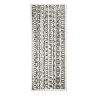STICKER / AUTOCOLLANT Decoratieve stickers, glitterstickers, vel 10x24 cm, zilver, randen, heel gedetailleerd in reliëf.