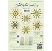 Sticker Star sticker stamp set green, 1 transparent Stempel, 3 Stern Sticker, 4xA5 Stempel Papier, 6 Vorlagen und Anleitung - LETZTE VORRÄTIG!