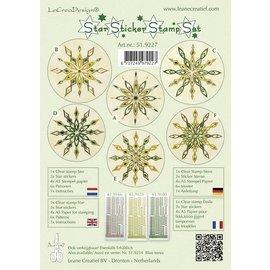 STICKER / AUTOCOLLANT Adesivi stella verde insieme timbro, 1 francobollo trasparente, 3 star adesivi, carta da bollo 4xA5, 6 modelli e istruzioni