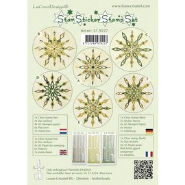 Sticker Des autocollants d'étoile green set de timbres, 1 timbre transparent, 3 étoiles autocollants, papier de timbre 4xA5, 6 modèles et instructions