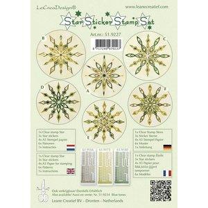 Sticker Ster stickers groene stempel set, 1 transparante stempel, 3 Star Stickers, 4xA5 stempel papier, 6 sjablonen en instructies