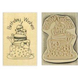 Stempel / Stamp: Holz / Wood Holze sello papermania, `s Anita, felicitaciones de cumpleaños