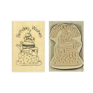 Stempel / Stamp: Holz / Wood Holze timbre Papermania, l `Anita, souhaits d'anniversaire