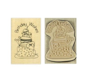 Stempel / Stamp: Holz / Wood Papermania, Anita `s Holze timbro, auguri di compleanno