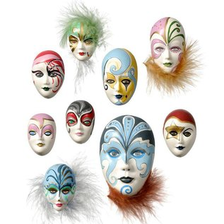 Modellieren Casting Mold: Mini Jewelery Masks, 4-8cm, without decoration, 9 pcs., Material required 130 g