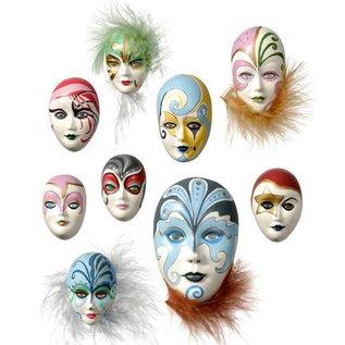 Modellieren Gießform: Mini-Schmuckmasken, 4-8cm,ohne Dekoration, 9-tlg., Materialbedarf 130 g