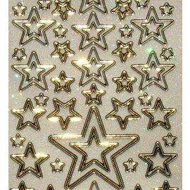 STICKER / AUTOCOLLANT Glitter dekorative mærkat, 10 x 23cm, stjerner, forskellig størrelse.