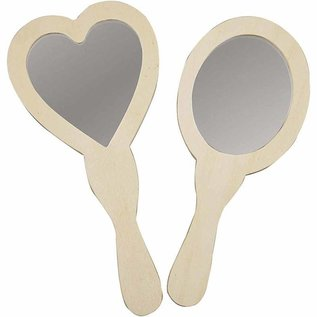 Objekten zum Dekorieren / objects for decorating Specchio a mano, 23-24 cm, legno, 1 a forma di cuore e 1 ovale