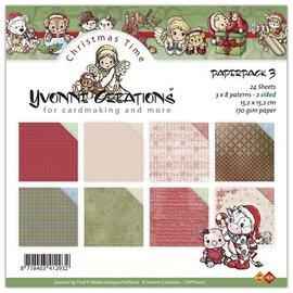 Karten und Scrapbooking Papier, Papier blöcke Yvonne Creations - Paperpack, 24 Blatt, 15 x 15cm