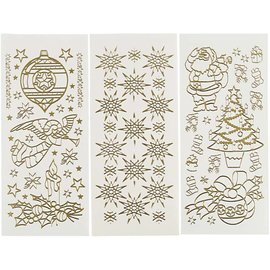 STICKER / AUTOCOLLANT Hobby Stickers, sheet 10x23 cm, gold, Christmas, 20 different sheets