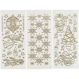 STICKER / AUTOCOLLANT Hobby Stickers, vel 10x23 cm, goud, Kerstmis, 20 verschillende vellen