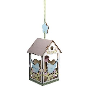 Objekten zum Dekorieren / objects for decorating 2 houten vogelhuisje, 6x4,5cm