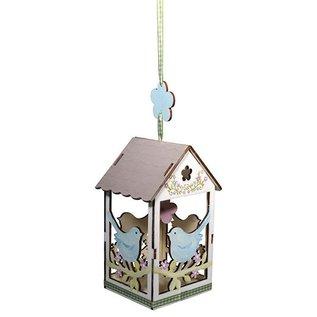 Objekten zum Dekorieren / objects for decorating Knutselset van hout, vogelhuisje, 6x4,5cm