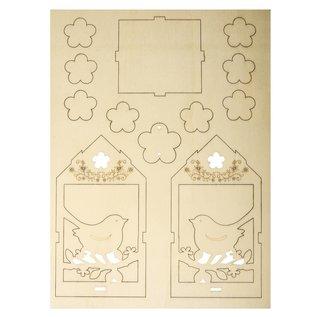 Objekten zum Dekorieren / objects for decorating Craft set made of wood, bird house, 6x4.5cm