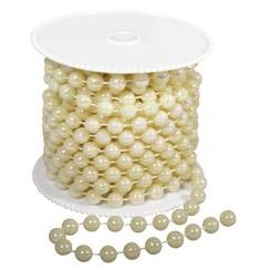 Store perlekæde, 8 mm, creme farve,