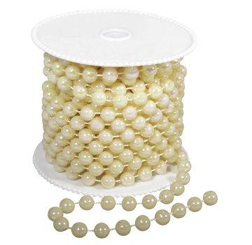 DEKOBAND / RIBBONS / RUBANS ... Store perlekæde, 8 mm, creme farve,