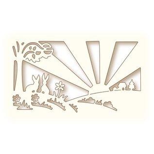 Wild Rose Studio`s Ponsen en embossing sjabloon: Sunrise Landschap