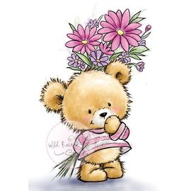 Wild Rose Studio`s Transparent stamps, A7: Bear with flowers