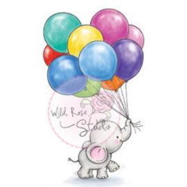 Wild Rose Studio`s Transparante stempels, A7: leuke baby Olifant met ballonnen
