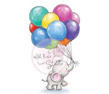 Wild Rose Studio`s Transparent Stempel, A7: niedliches baby Olifant mit Ballons