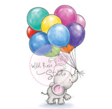 Wild Rose Studio`s Transparent stamps, A7: cute baby Olifant with balloons