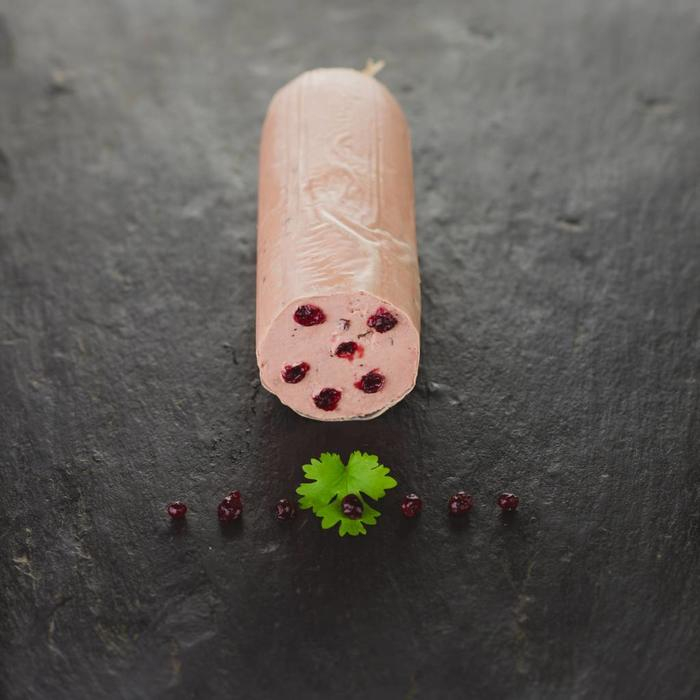 Kalbsfleischleberwurst mit Preiselbeeren