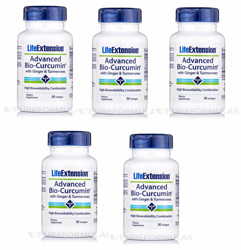 Life Extension Advanced Bio-Curcumin With Ginger & Turmerones, 5-pack