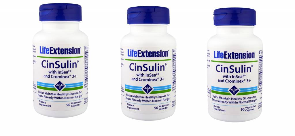 Life Extension Cinsulin With Insea2 And Crominex 3+, 3-pack