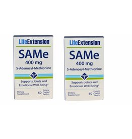 Life Extension Same (s-adenosyl-methionine), 400 Mg 60 Enteric Coated Tablets, 2-pack
