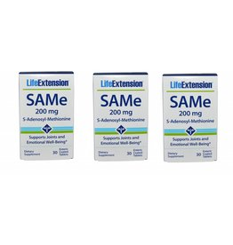 Life Extension Same (s-adenosylmethionine), 200 Mg 30 Enteric Coated Tablets, 3-pack