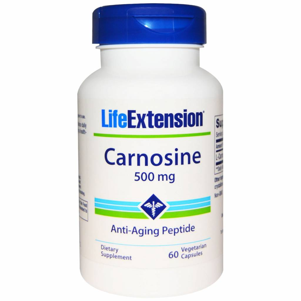 Life Extension Carnosine,  500 mg, 60 vegetarian capsules