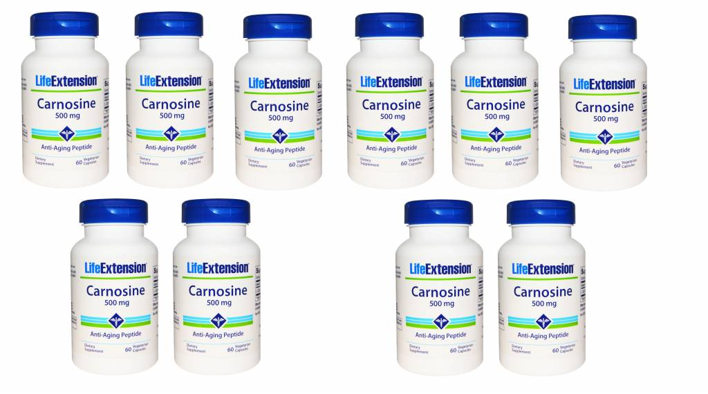 Life Extension Carnosine, 500 Mg, 60 Vegetarian Capsules, 10-pack