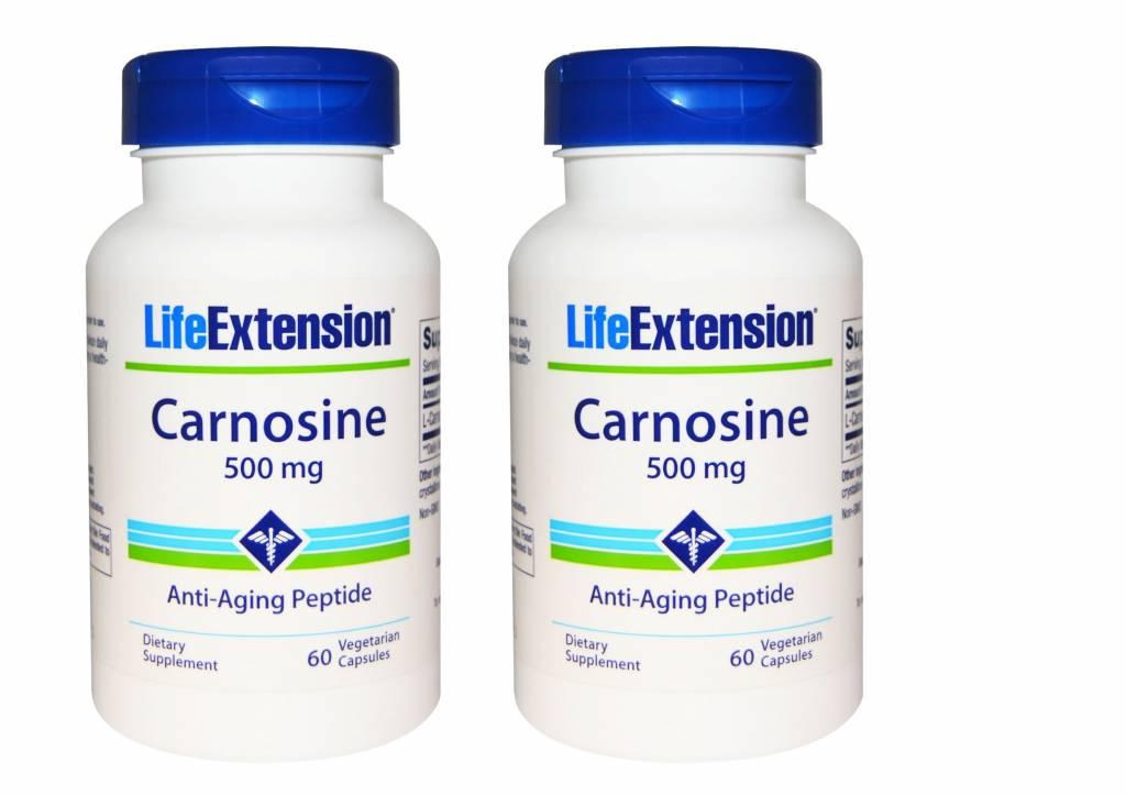 Life Extension Carnosine, 500 Mg, 60 Vegetarian Capsules, 2-pack