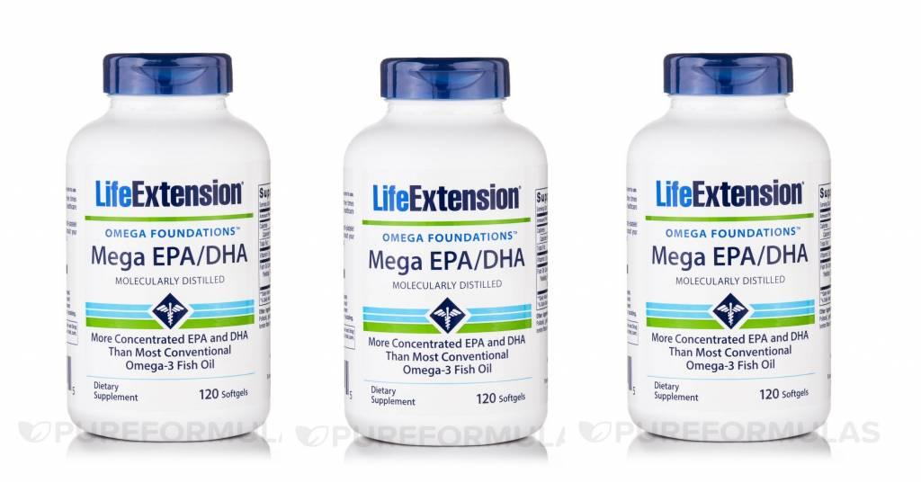 Life Extension Mega EPA/DHA, 120 Softgels, 3-pack