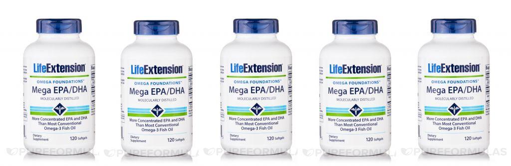 Life Extension Mega EPA/DHA, 120 Softgels, 5-pack