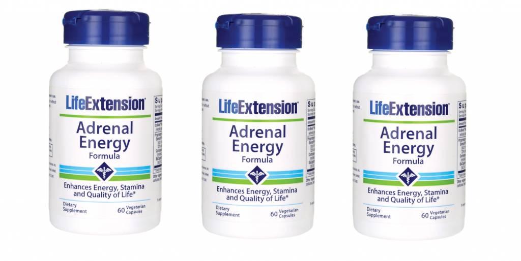 Life Extension Adrenal Energy Formula, 60 Vegetarian Capsules, 3-pack