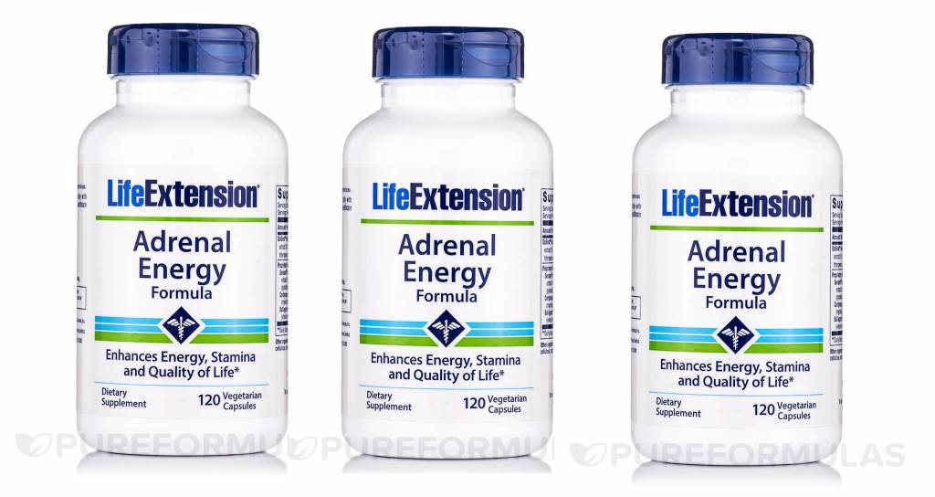 Life Extension Adrenal Energy Formula, 120 Vegetarian Capsules, 3-pack