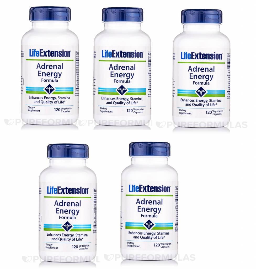 Life Extension Adrenal Energy Formula, 120 Vegetarian Capsules, 5-pack