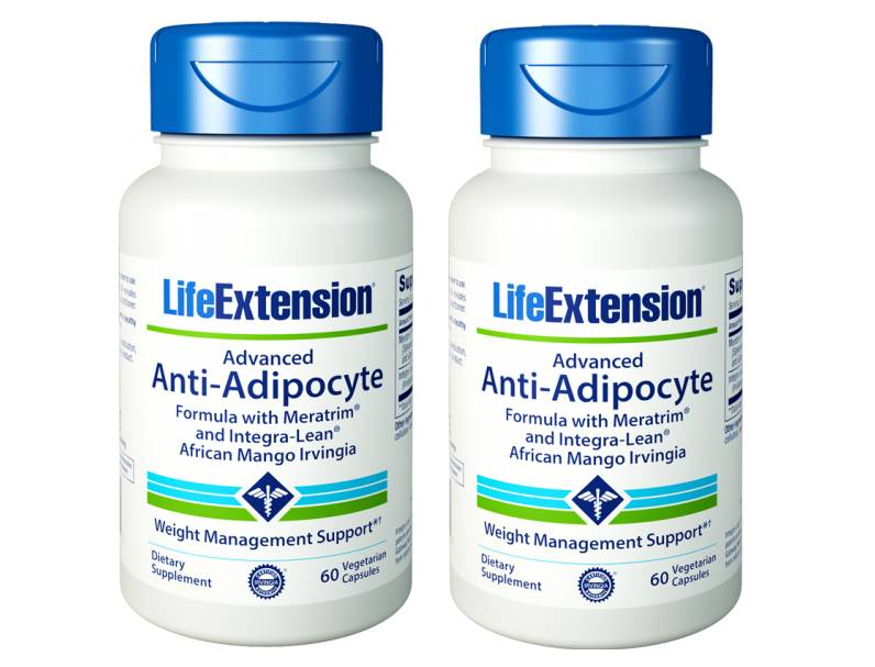 Life Extension Advanced Anti-Adipocyte Formula With Adipostat and Integra-Lean African Mango Irvingia, 60 Vegetarian Capsules, 2-pack