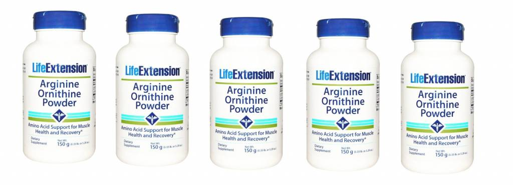 Life Extension Arginine Ornithine Powder, 150 Grams, 5-pack