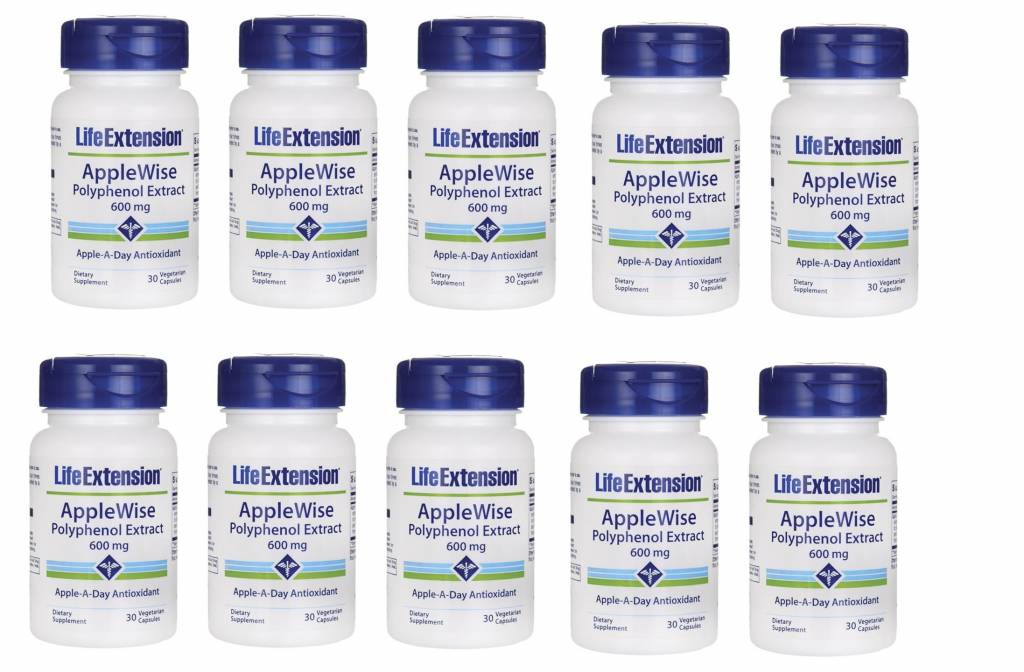 Life Extension Applewise Polyphenol Extract, 600 Mg 30 Vegetarian Capsules, 10-pack