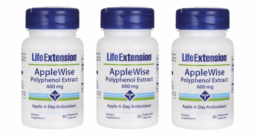 Life Extension Applewise Polyphenol Extract, 600 Mg 30 Vegetarian Capsules, 3-pack