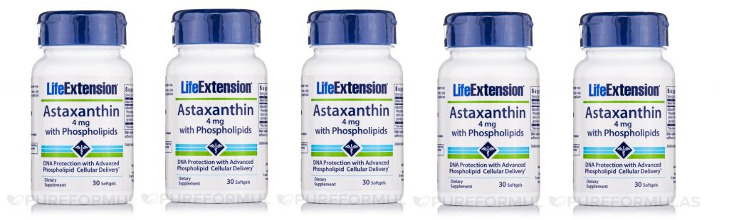 Life Extension Astaxanthin With Phospholipids | 4 Mg, 30 Softgels, 5-pack