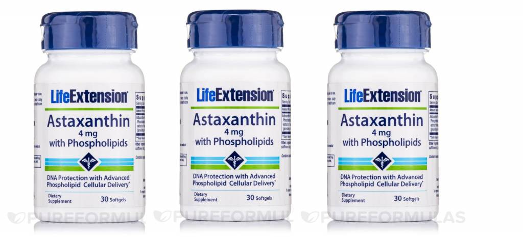 Life Extension Astaxanthin With Phospholipids | 4 Mg, 30 Softgels, 3-pack